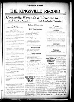 Primary view of object titled 'The Kingsville Record (Kingsville, Tex.), Vol. 8, No. 28, Ed. 1 Friday, March 26, 1915'.