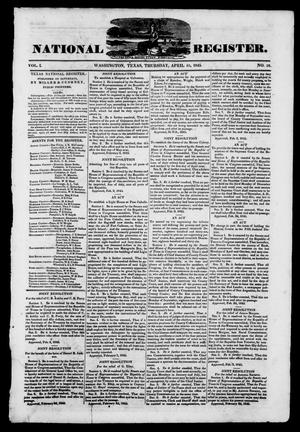 Primary view of object titled 'Texas National Register. (Washington, Tex.), Vol. 1, No. 18, Ed. 1, Thursday, April 10, 1845'.