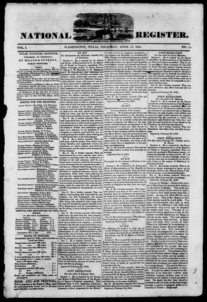 Primary view of object titled 'Texas National Register. (Washington, Tex.), Vol. 1, No. 19, Ed. 1, Thursday, April 17, 1845'.