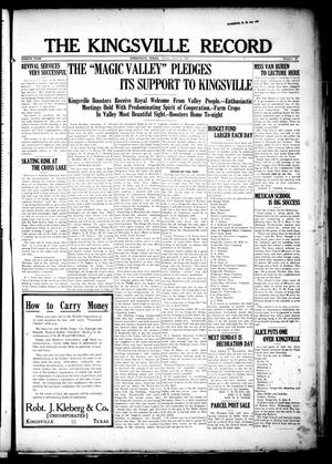 Primary view of object titled 'The Kingsville Record (Kingsville, Tex.), Vol. 8, No. 32, Ed. 1 Friday, April 23, 1915'.