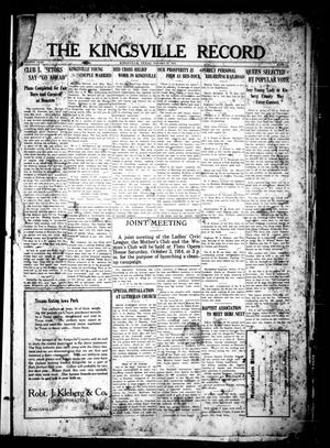 Primary view of object titled 'The Kingsville Record (Kingsville, Tex.), Vol. 8, No. 1, Ed. 1 Friday, September 25, 1914'.