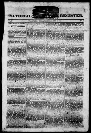 Primary view of object titled 'Texas National Register. (Washington, Tex.), Vol. 1, No. 28, Ed. 1, Thursday, June 19, 1845'.