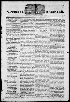 Primary view of object titled 'Texas National Register. (Washington, Tex.), Vol. 1, No. 29, Ed. 1, Thursday, June 26, 1845'.