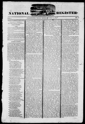 Primary view of object titled 'Texas National Register. (Washington, Tex.), Vol. 1, No. 30, Ed. 1, Thursday, July 3, 1845'.