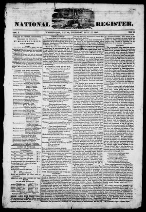 Primary view of object titled 'Texas National Register. (Washington, Tex.), Vol. 1, No. 32, Ed. 1, Thursday, July 17, 1845'.