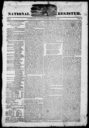 Primary view of object titled 'Texas National Register. (Washington, Tex.), Vol. 1, No. 33, Ed. 1, Thursday, July 24, 1845'.