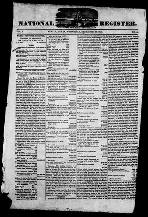 Primary view of object titled 'Texas National Register. (Washington, Tex.), Vol. 1, No. 50, Ed. 1, Wednesday, December 24, 1845'.