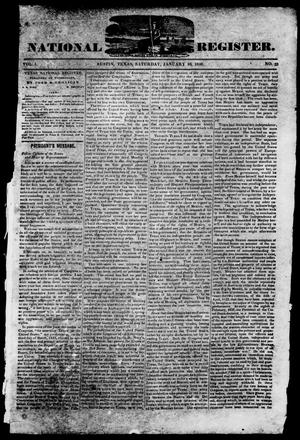 Primary view of object titled 'Texas National Register. (Washington, Tex.), Vol. 1, No. 53, Ed. 1, Saturday, January 10, 1846'.