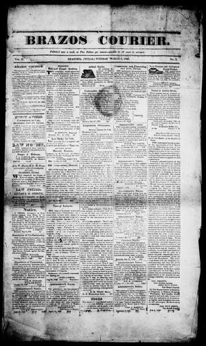 Primary view of object titled 'Brazos Courier. (Brazoria, Tex.), Vol. 2, No. 3, Ed. 1, Tuesday, March 3, 1840'.
