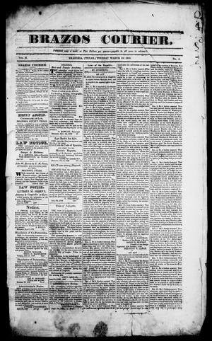 Primary view of object titled 'Brazos Courier. (Brazoria, Tex.), Vol. 2, No. 4, Ed. 1, Tuesday, March 10, 1840'.