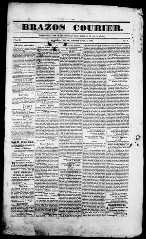 Primary view of object titled 'Brazos Courier. (Brazoria, Tex.), Vol. 2, No. 8, Ed. 1, Tuesday, April 7, 1840'.