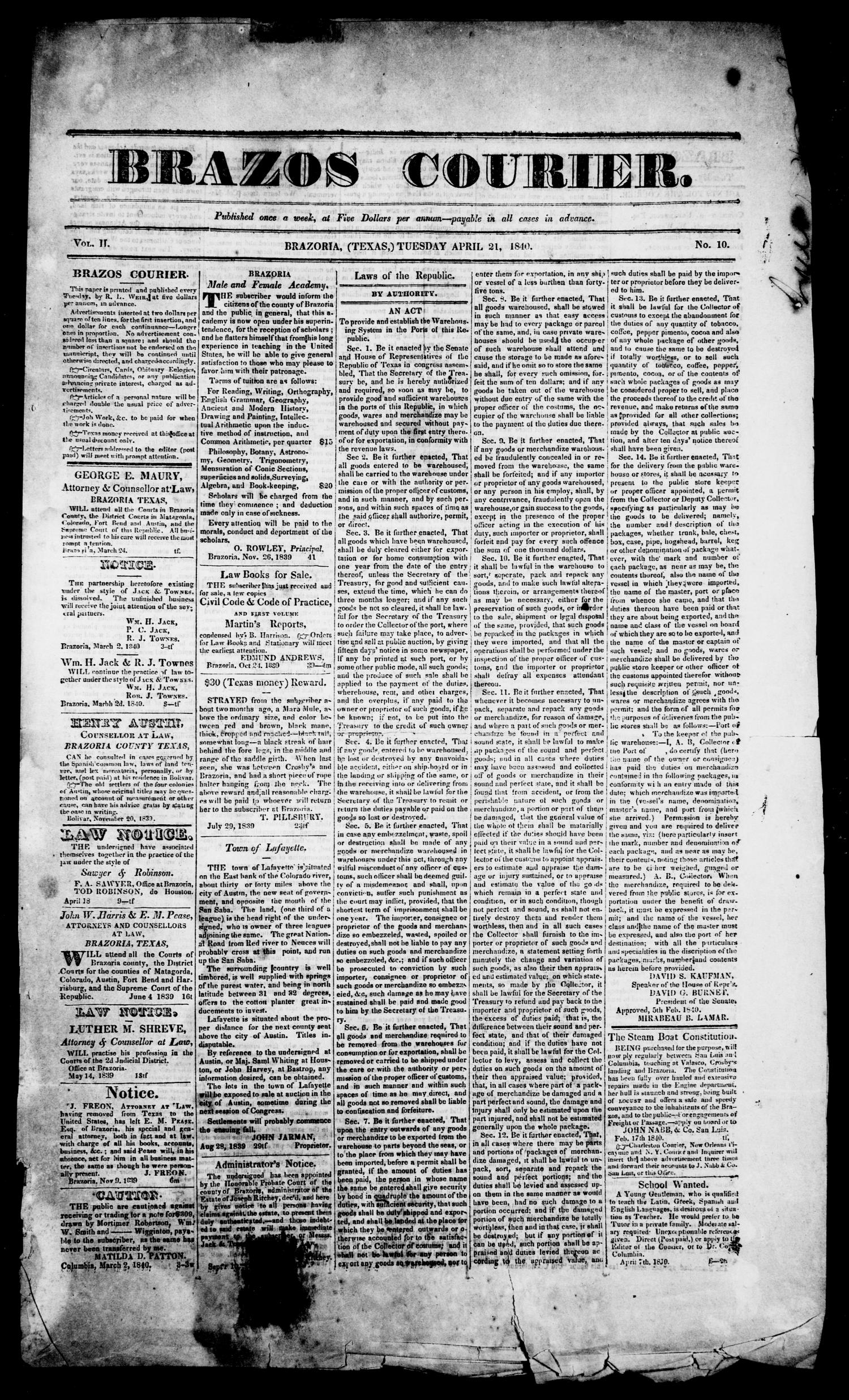 Brazos Courier. (Brazoria, Tex.), Vol. 2, No. 10, Ed. 1, Tuesday, April 21, 1840                                                                                                      [Sequence #]: 1 of 4