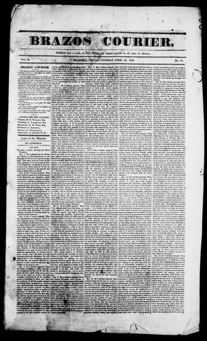 Primary view of object titled 'Brazos Courier. (Brazoria, Tex.), Vol. 2, No. 11, Ed. 1, Tuesday, April 28, 1840'.