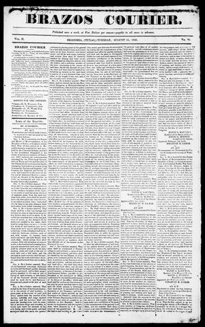 Primary view of object titled 'Brazos Courier. (Brazoria, Tex.), Vol. 2, No. 26, Ed. 1, Tuesday, August 11, 1840'.
