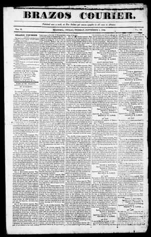Primary view of object titled 'Brazos Courier. (Brazoria, Tex.), Vol. 2, No. 29, Ed. 1, Tuesday, September 1, 1840'.
