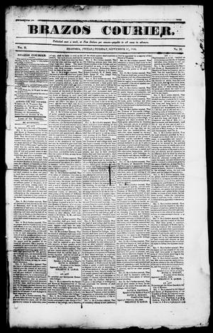 Primary view of object titled 'Brazos Courier. (Brazoria, Tex.), Vol. 2, No. 30, Ed. 1, Tuesday, September 15, 1840'.