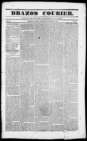 Primary view of object titled 'Brazos Courier. (Brazoria, Tex.), Vol. 2, No. 31, Ed. 1, Tuesday, September 22, 1840'.