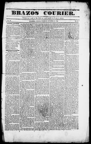 Primary view of object titled 'Brazos Courier. (Brazoria, Tex.), Vol. 2, No. 34, Ed. 1, Tuesday, October 13, 1840'.