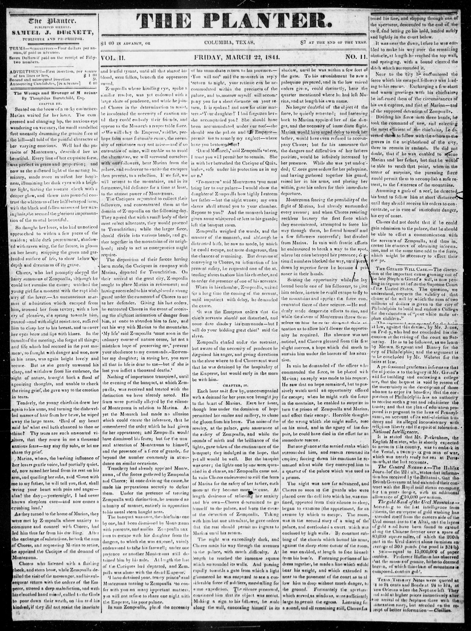 The Planter. (Columbia, Tex.), Vol. 2, No. 11, Ed. 1, Friday, March 22, 1844                                                                                                      [Sequence #]: 1 of 4