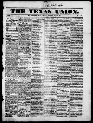 Primary view of object titled 'The Texas Union.(San Augustine, Tex.), Vol. 1, No. 26, Ed. 1, Saturday, April 1, 1848'.