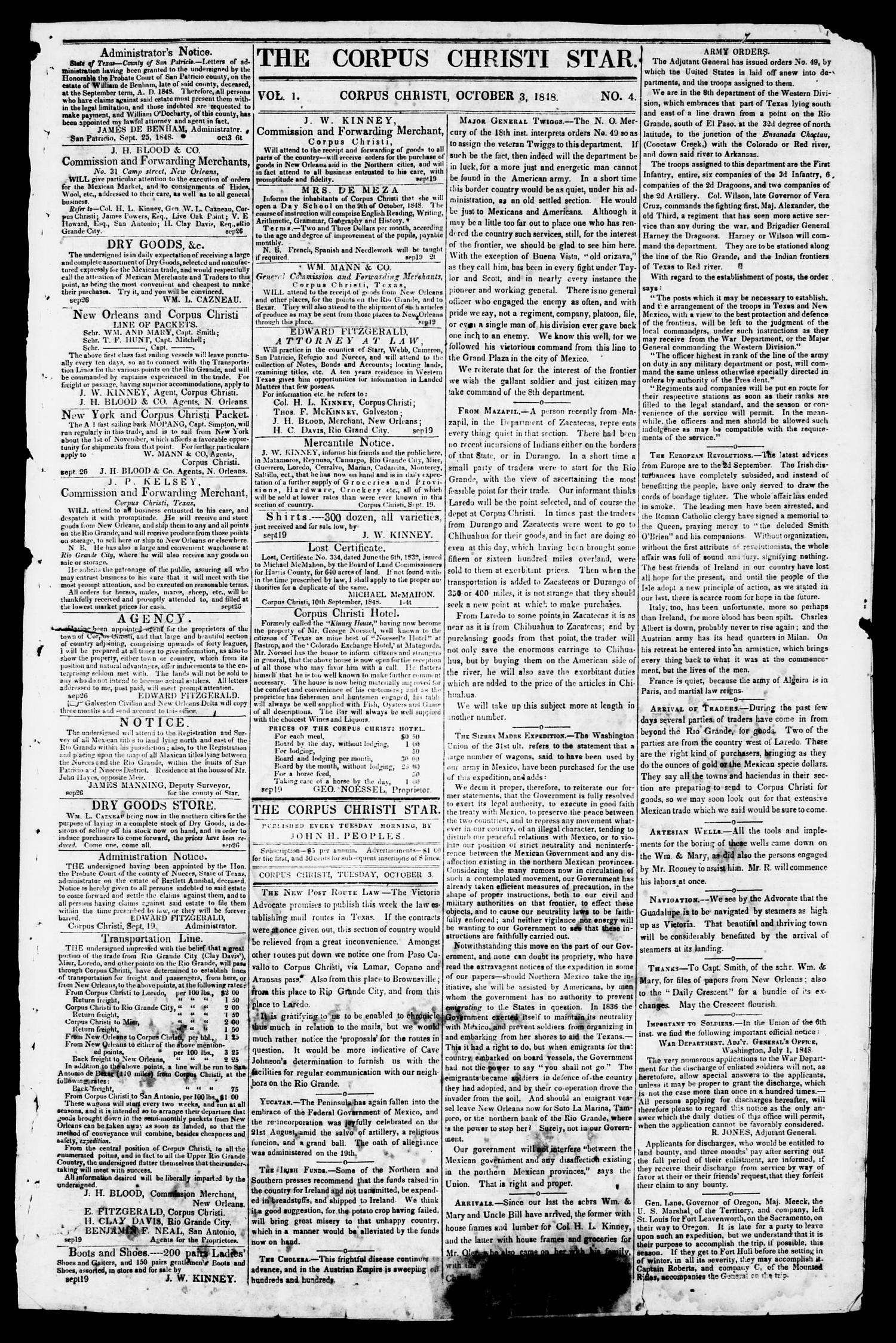 The Corpus Christi Star. (Corpus Christi, Tex.), Vol. 1, No. 4, Ed. 1, Tuesday, October 3, 1848                                                                                                      [Sequence #]: 1 of 4