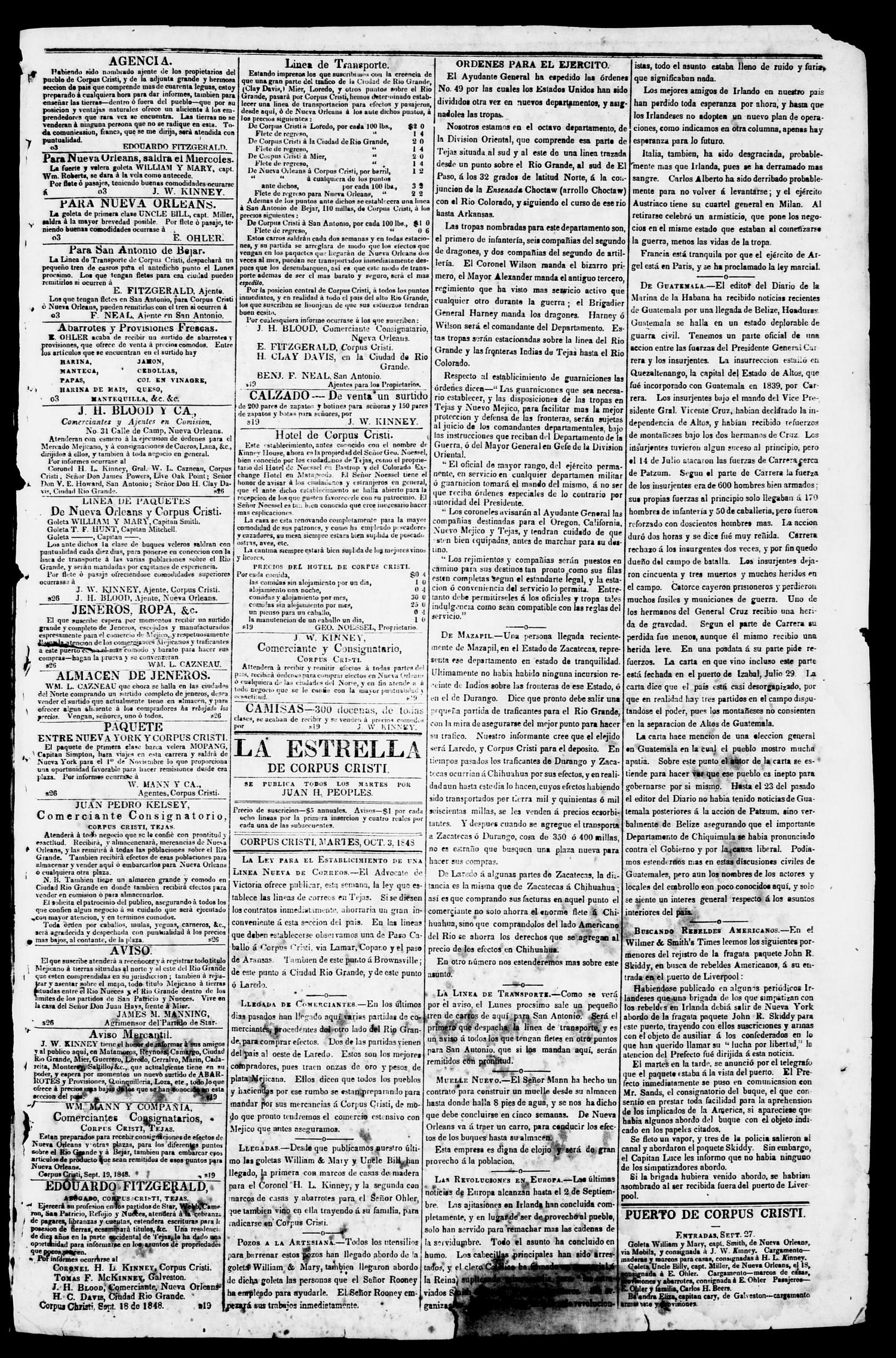 The Corpus Christi Star. (Corpus Christi, Tex.), Vol. 1, No. 4, Ed. 1, Tuesday, October 3, 1848                                                                                                      [Sequence #]: 3 of 4
