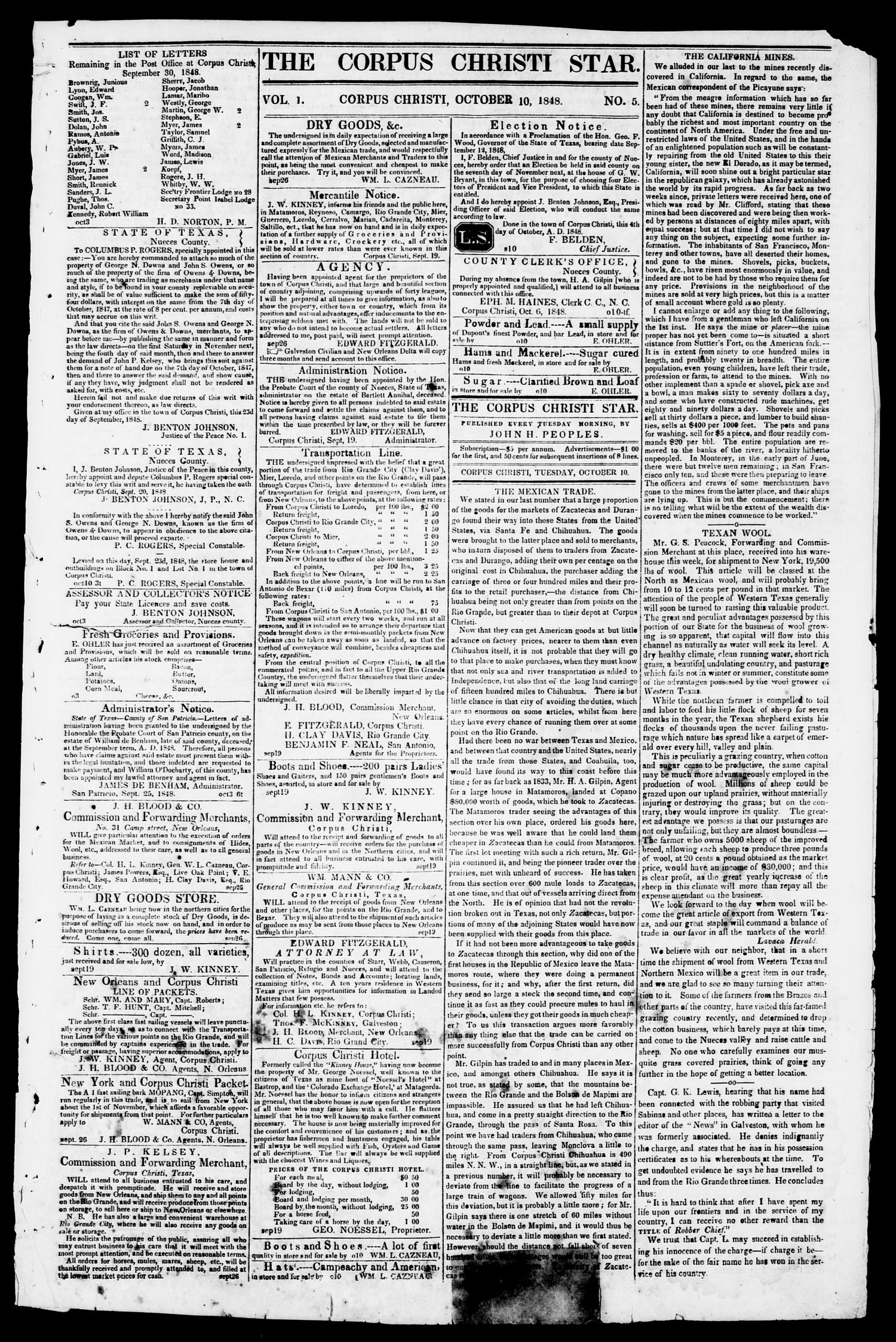 The Corpus Christi Star. (Corpus Christi, Tex.), Vol. 1, No. 5, Ed. 1, Tuesday, October 10, 1848                                                                                                      [Sequence #]: 1 of 4