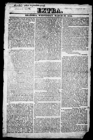 Primary view of object titled 'The Advocate of the People's Rights (Brazoria, Tex.), Vol. 1, No. 9, Ed. 1, Thursday, March 27, 1834'.