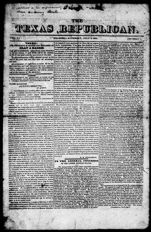 Primary view of object titled 'The Texas Republican. (Brazoria, Tex.), Vol. 1, No. 1, Ed. 1, Saturday, July 5, 1834'.