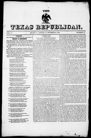 Primary view of object titled 'The Texas Republican. (Brazoria, Tex.), Vol. 1, No. 13, Ed. 1, Saturday, October 25, 1834'.