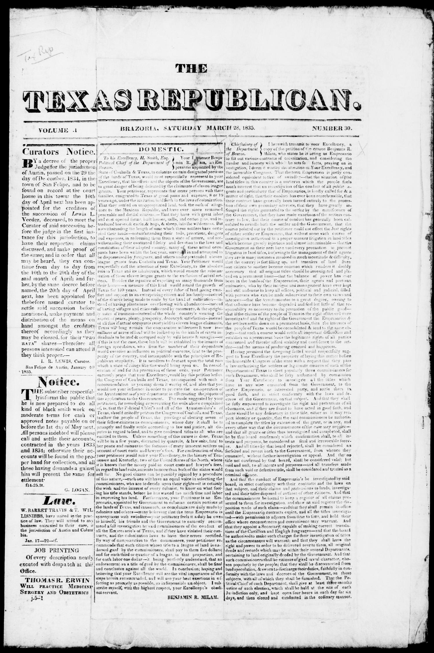 The Texas Republican. (Brazoria, Tex.), Vol. 1, No. 30, Ed. 1, Saturday, March 28, 1835                                                                                                      [Sequence #]: 1 of 4