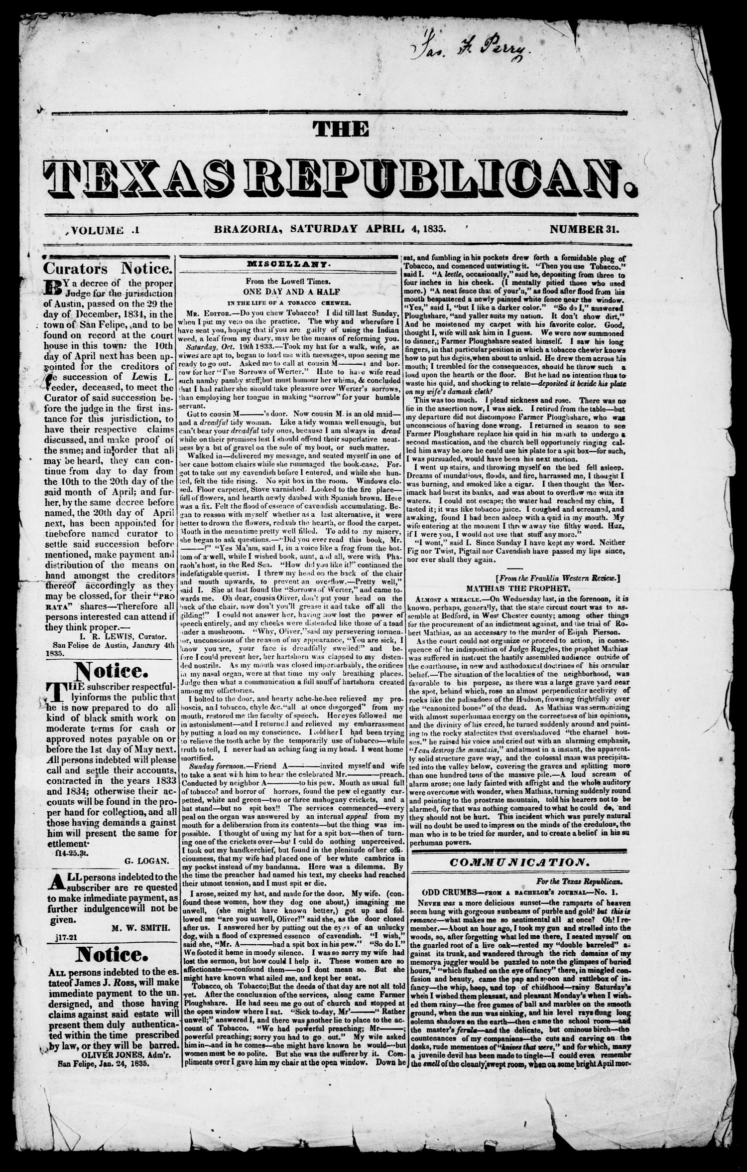 The Texas Republican. (Brazoria, Tex.), Vol. 1, No. 31, Ed. 1, Saturday, April 4, 1835                                                                                                      [Sequence #]: 1 of 4