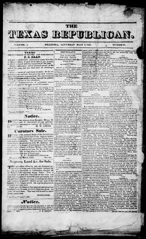 Primary view of object titled 'The Texas Republican. (Brazoria, Tex.), Vol. 1, No. 36, Ed. 1, Saturday, May 9, 1835'.