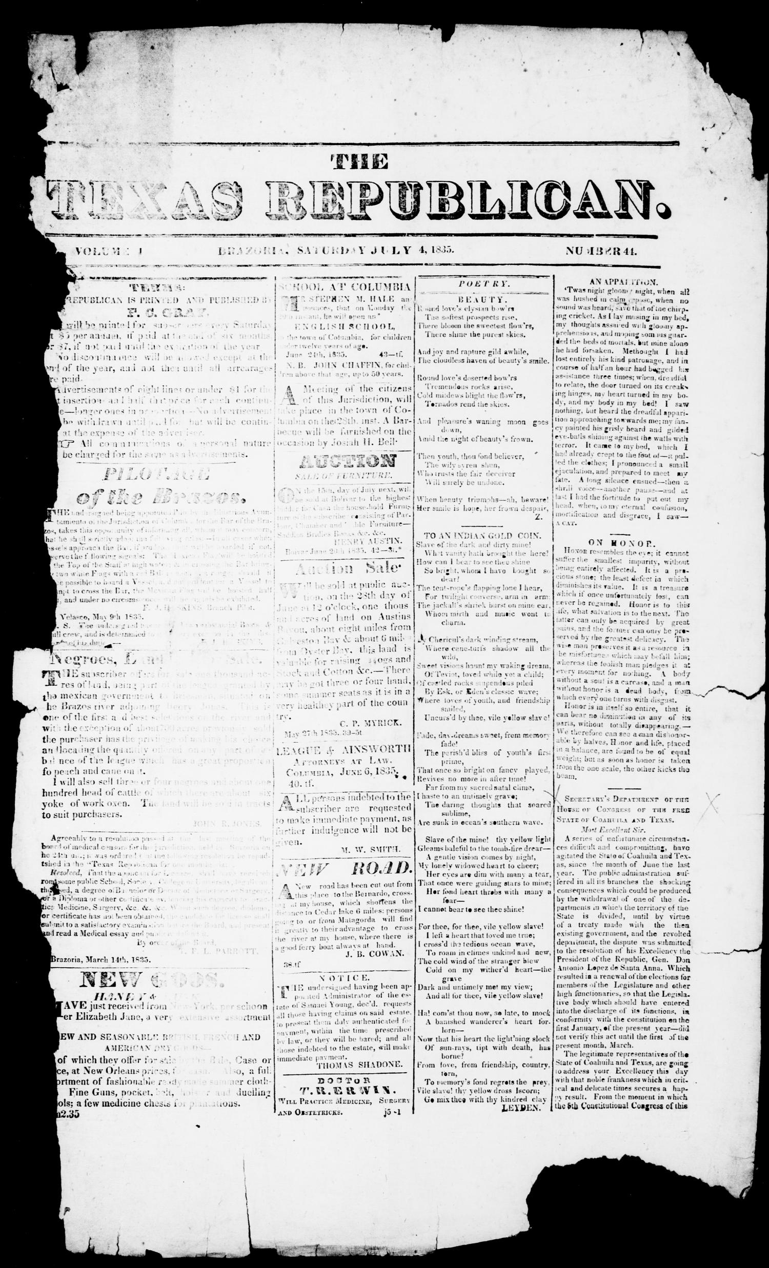 The Texas Republican. (Brazoria, Tex.), Vol. 1, No. 44, Ed. 1, Saturday, July 4, 1835                                                                                                      [Sequence #]: 1 of 4