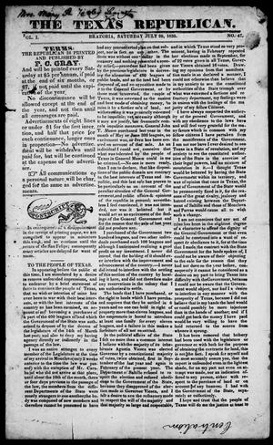 Primary view of object titled 'The Texas Republican. (Brazoria, Tex.), Vol. 1, No. 47, Ed. 1, Saturday, July 25, 1835'.