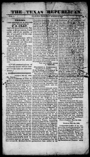 Primary view of object titled 'The Texas Republican. (Brazoria, Tex.), Vol. 1, No. 49, Ed. 1, Saturday, August 8, 1835'.