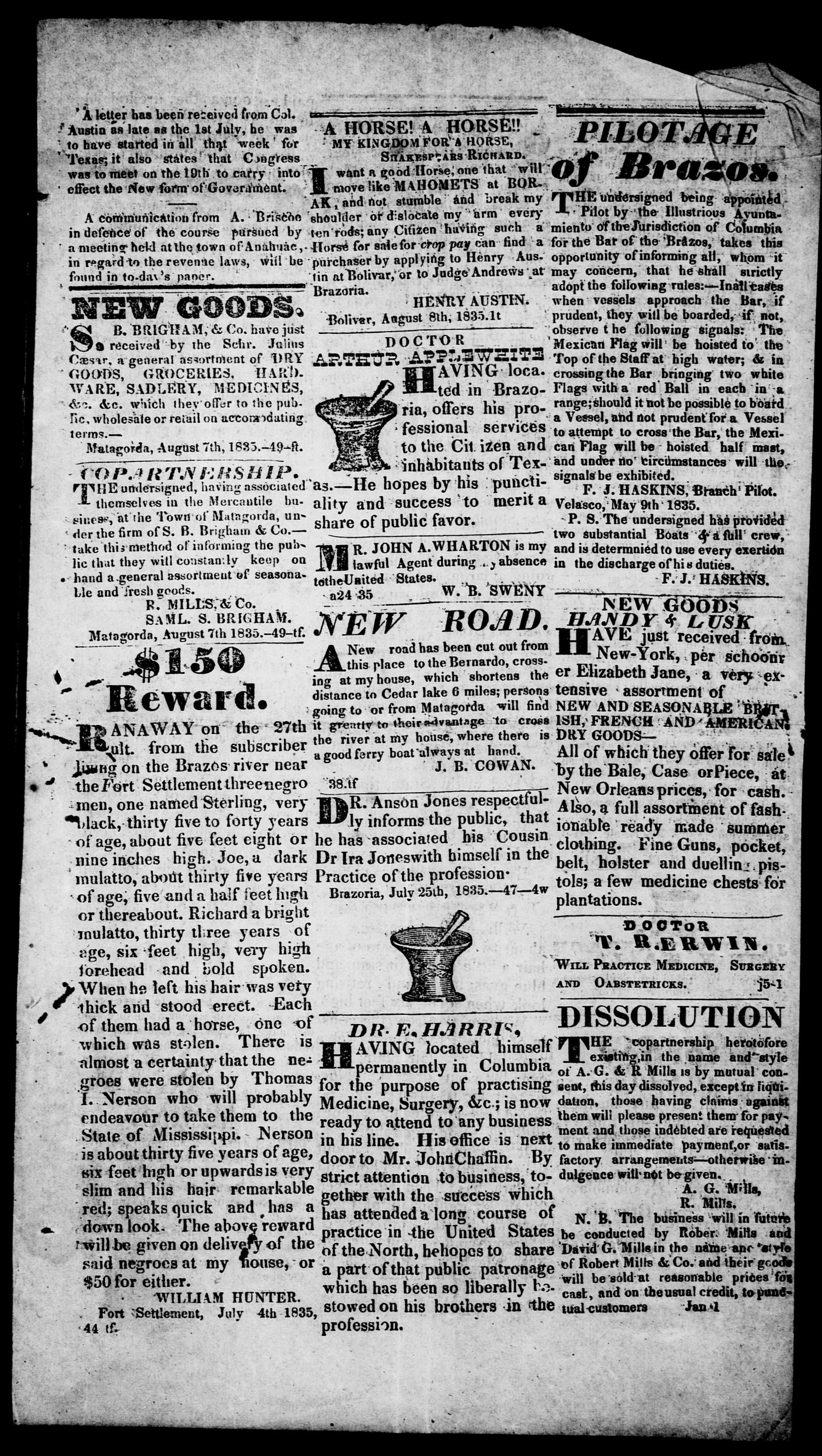 The Texas Republican. (Brazoria, Tex.), Vol. 1, No. 49, Ed. 1, Saturday, August 8, 1835                                                                                                      [Sequence #]: 3 of 4