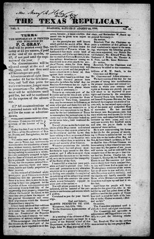 Primary view of object titled 'The Texas Republican. (Brazoria, Tex.), Vol. 1, No. 51, Ed. 1, Saturday, August 22, 1835'.
