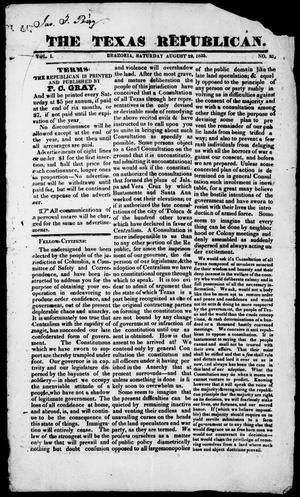 Primary view of object titled 'The Texas Republican. (Brazoria, Tex.), Vol. 1, No. 52, Ed. 1, Saturday, August 29, 1835'.