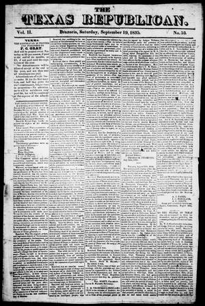 Primary view of object titled 'The Texas Republican. (Brazoria, Tex.), Vol. 1, No. 53, Ed. 1, Saturday, September 19, 1835'.