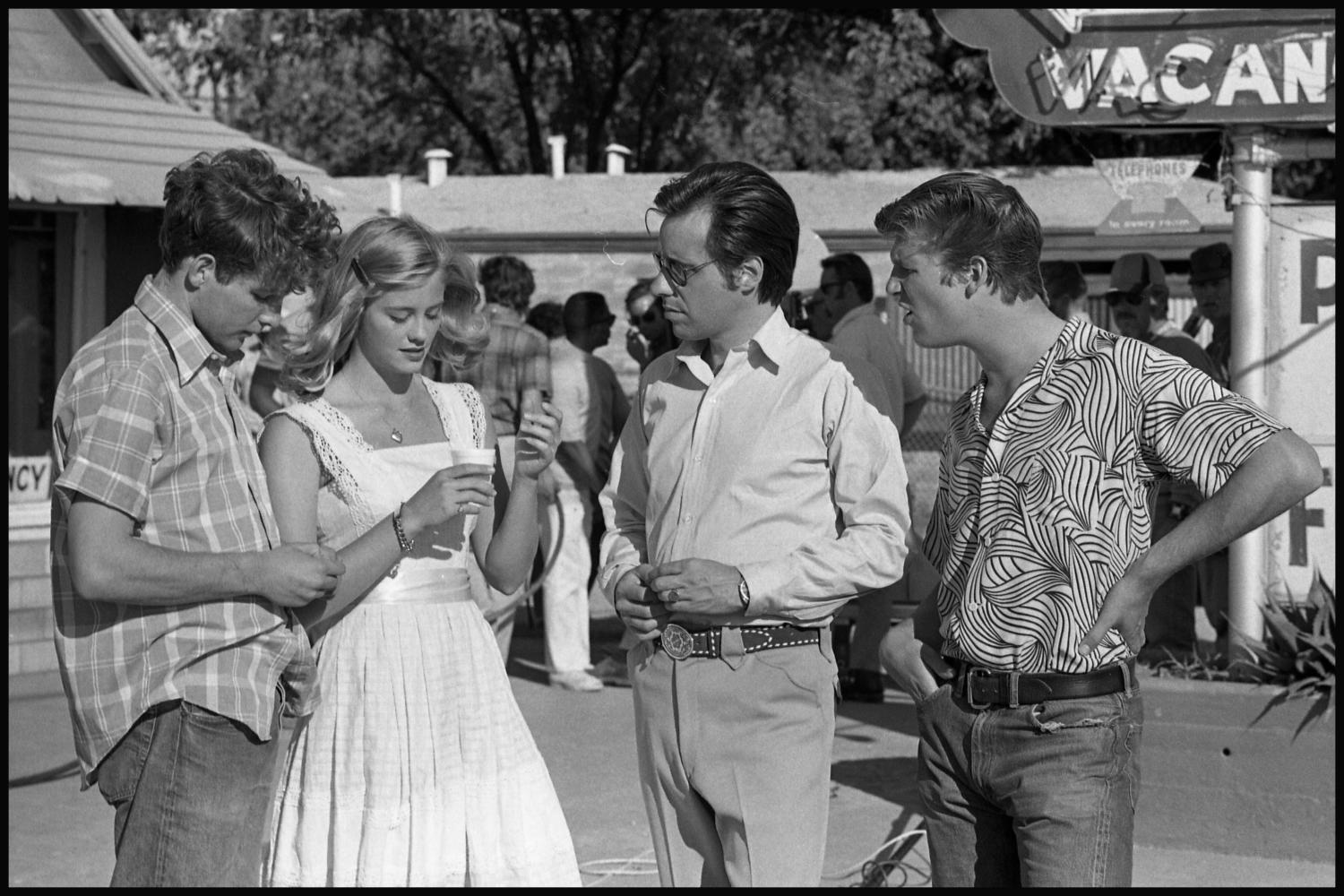 """[Director and cast on set in """"The Last Picture Show ..."""