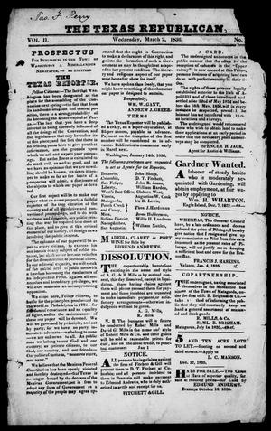 Primary view of object titled 'The Texas Republican. (Brazoria, Tex.), Vol. 2, No. 76, Ed. 1, Wednesday, March 2, 1836'.