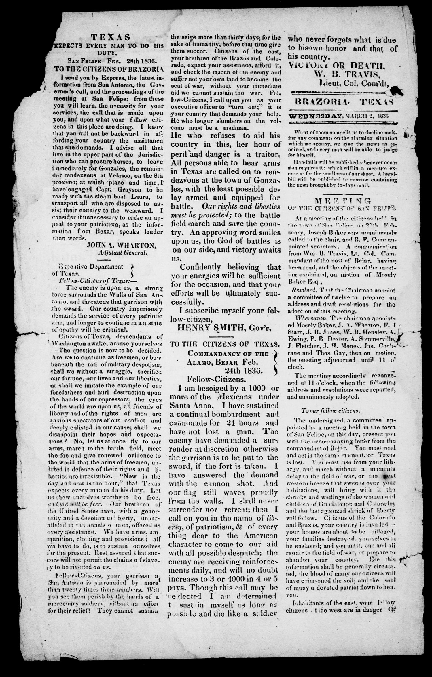 The Texas Republican. (Brazoria, Tex.), Vol. 2, No. 76, Ed. 1, Wednesday, March 2, 1836                                                                                                      [Sequence #]: 2 of 4