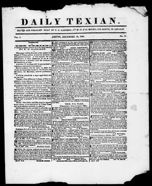Primary view of object titled 'Daily Texian (Austin, Tex.), Vol. 1, No. 21, Ed. 1, Saturday, December 18, 1841'.