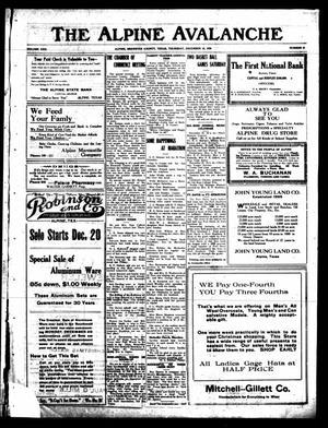 The Alpine Avalanche (Alpine, Tex.), Vol. 30, No. 51, Ed. 1 Thursday, December 16, 1920