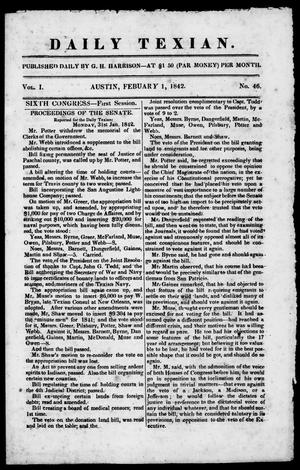 Primary view of object titled 'Daily Texian (Austin, Tex.), Vol. 1, No. 46, Ed. 1, Tuesday, February 1, 1842'.