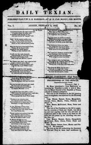 Primary view of object titled 'Daily Texian (Austin, Tex.), Vol. 1, No. 47, Ed. 1, Wednesday, February 2, 1842'.