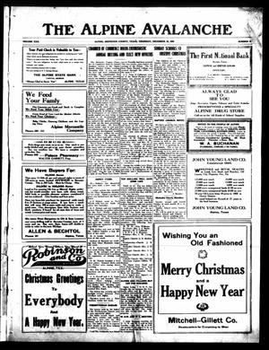 The Alpine Avalanche (Alpine, Tex.), Vol. 30, No. 52, Ed. 1 Thursday, December 23, 1920