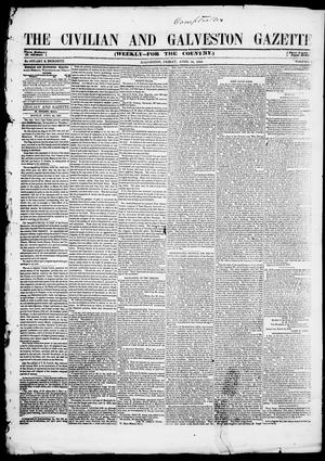 Primary view of object titled 'The Civilian and Galveston Gazette. (Galveston, Tex.), Vol. 10, Ed. 1, Friday, April 28, 1848'.