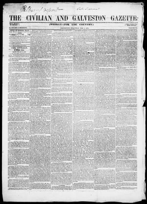 Primary view of object titled 'The Civilian and Galveston Gazette. (Galveston, Tex.), Vol. 11, Ed. 1, Thursday, February 1, 1849'.